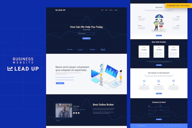 Página inicial de sites de negócios