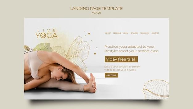 Página inicial de teste gratuito de ioga ao vivo