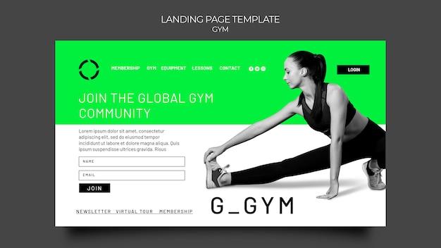 Página inicial de treinamento de ginástica