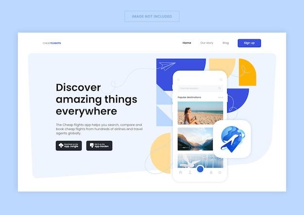 Página inicial do aplicativo flight travel
