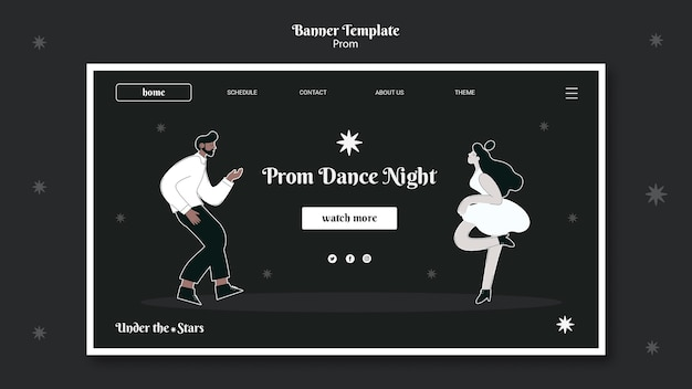 Página inicial do baile em preto e branco