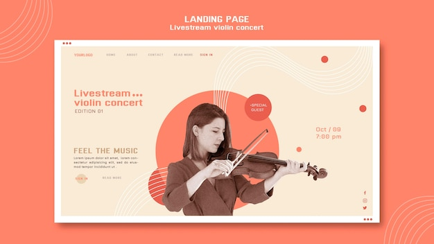 Página inicial do concerto de violino ao vivo