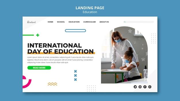 Página inicial do dia internacional da educação Psd Premium