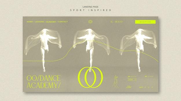 Página inicial do modelo da academia de dança