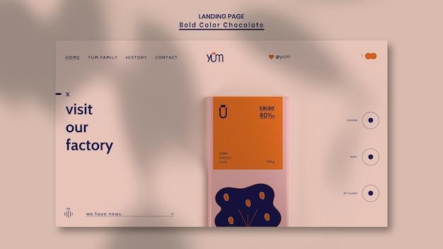 Página inicial do modelo da loja de chocolates