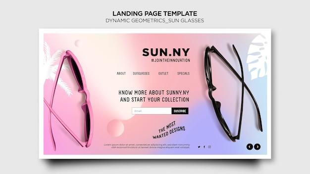 Página inicial do modelo da loja de óculos de sol