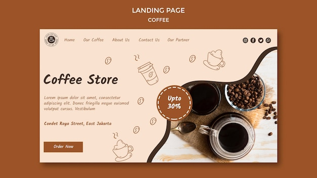 Página inicial do modelo de cafeteria