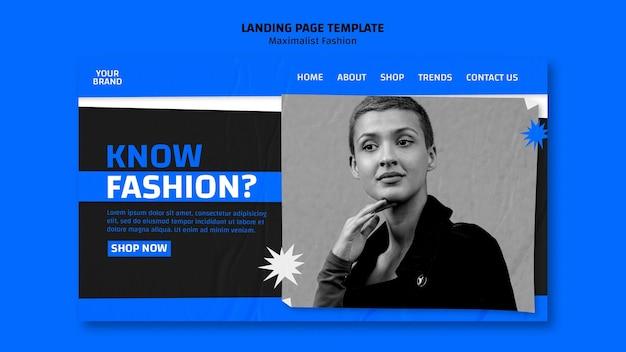 Página inicial do modelo de coleção de moda