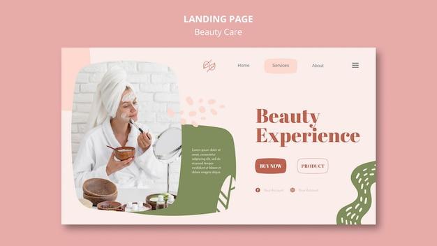 Página inicial do modelo de cuidados de beleza