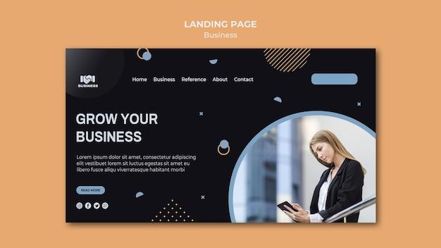 Página inicial do modelo de evento de negócios