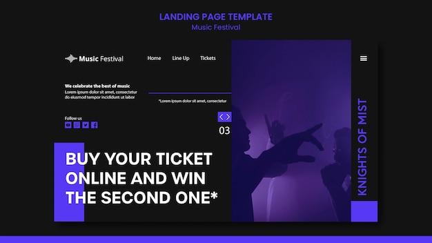 Página inicial do modelo de festival de música