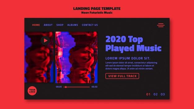 Página inicial do modelo de música futurista neon