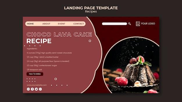 Página inicial do modelo de receitas de sobremesas