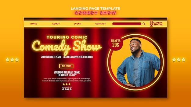 Página inicial do modelo de show de comédia