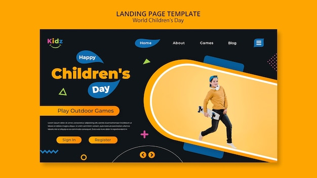 Página inicial do modelo do dia das crianças