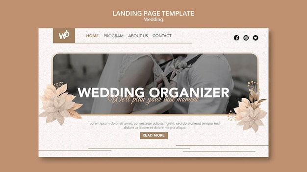 Página inicial do organizador de casamento