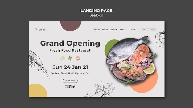 Página inicial do restaurante de frutos do mar