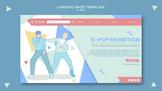 Página inicial ilustrada de k-pop