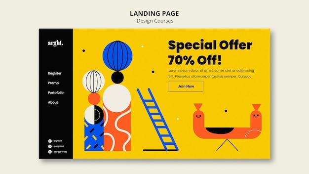 Página inicial para aulas de design gráfico