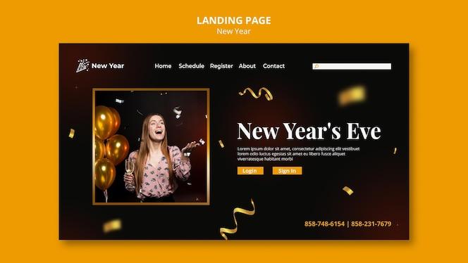 Página inicial para festa de ano novo com mulher e confete