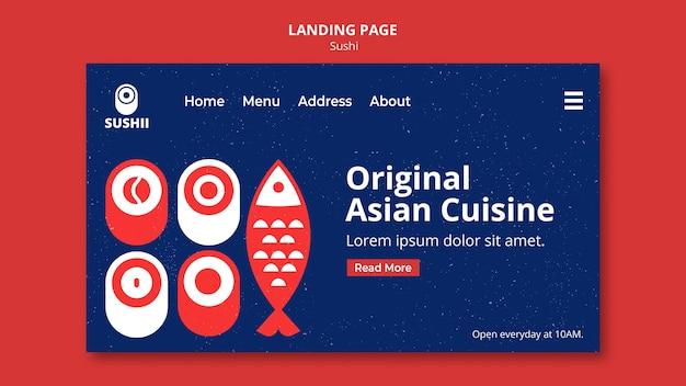 Página inicial para festival de comida japonesa com sushi