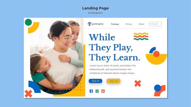 Página inicial para jardim de infância com crianças