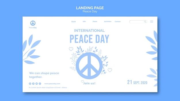 Página inicial para o dia da paz