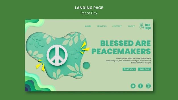 Página inicial para o dia internacional da paz