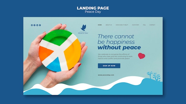 Página inicial para o dia mundial da paz