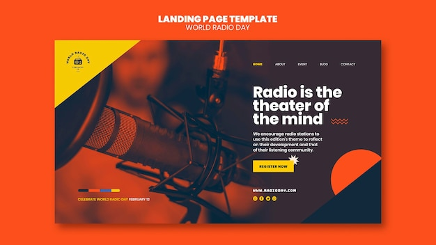Página inicial para o dia mundial da rádio com emissora e microfone
