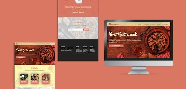 Páginas de destino do menu do restaurante