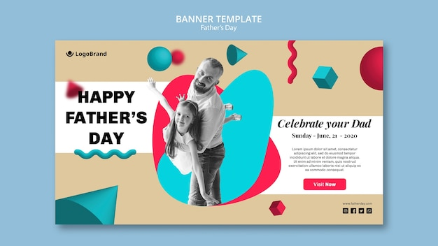 Pai brincando com modelo de banner do dia dos pais da filha