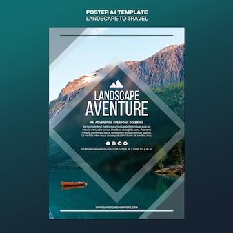 Paisagem para modelo de cartaz de conceito de viagens