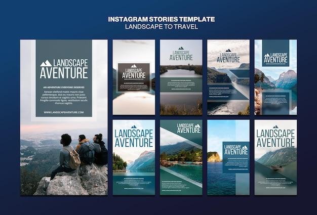 Paisagem para modelo de histórias do instagram de conceito de viagem