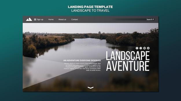 Paisagem para modelo de página de destino de conceito de viagens