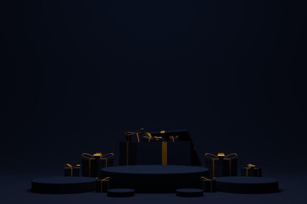 Palco de pódio 3d elegante para plano de fundo de natal
