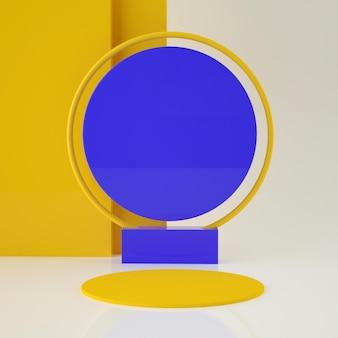 palco geométrico 3d holográfico do conjunto colorido para a colocação do produto com fundo e cor editável