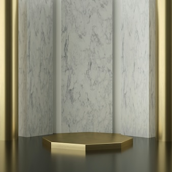 Palco hexágono dourado com paredes de mármore