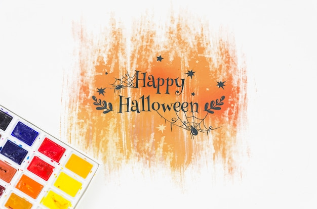 Paleta de acrílico e desenho de halloween
