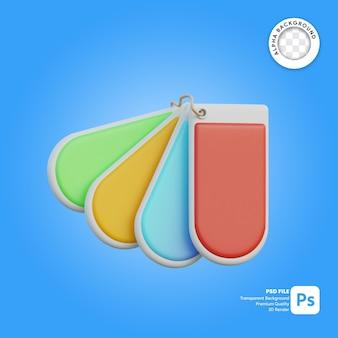 Paleta de cores de tag de ícone 3d