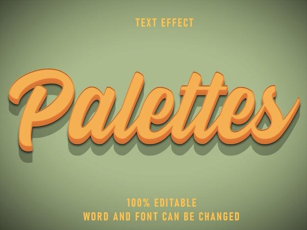 Paletas estilo texto efeito texto fonte editável cor estilo sólido vintage