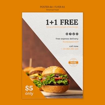 Panfleto americano de fast food e batatas fritas