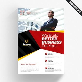 Panfleto comercial branco com detalhes amarelos e vermelhos