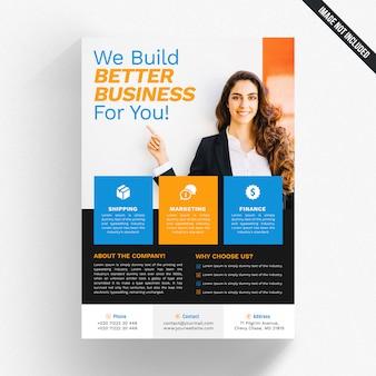 Panfleto comercial branco com detalhes azuis e laranja