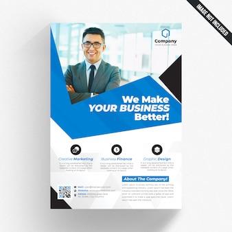 Panfleto comercial branco com detalhes azuis