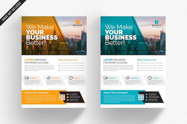 Panfleto comercial branco com detalhes laranja e azuis