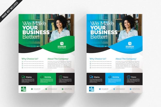 Panfleto comercial branco com detalhes verdes e azuis