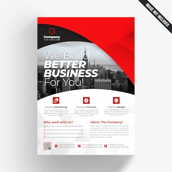 Panfleto comercial branco com detalhes vermelhos
