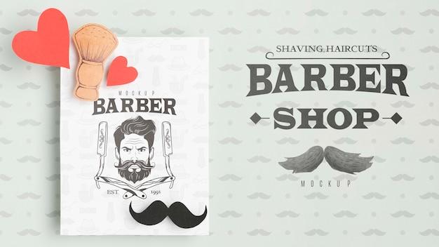 Panfleto de barbearia vista superior com maquete