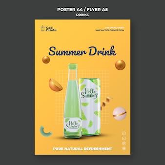 Panfleto de bebidas de verão com suco puro